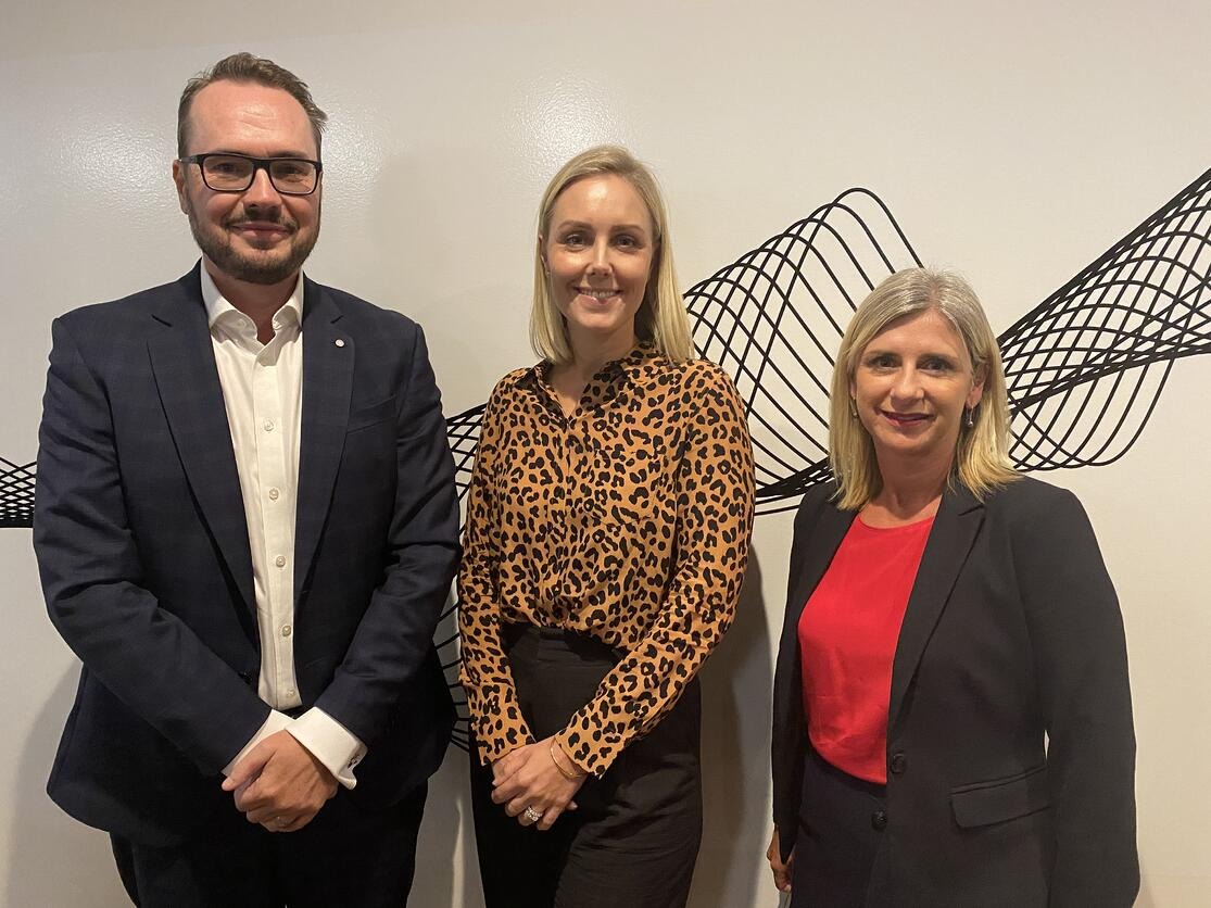 Immediate Past President Scott Nugent (AMP Capital), Preisdent Paige Walker and WA Executive Director, Sandra Brewer